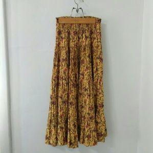 Vintage Boho Floral Mustard Yellow Peasant Skirt